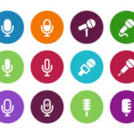 Microphone circle icons on white background. Vector illustration.